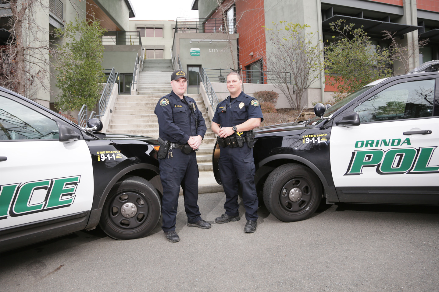 Photo of Orinda PD officers and vehicles